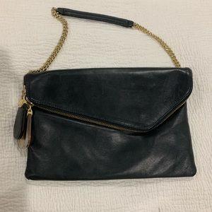 Henry Bendel Black Leather Envelope Purse
